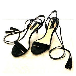 Black Steven by Steve Madden wrap tassel heels